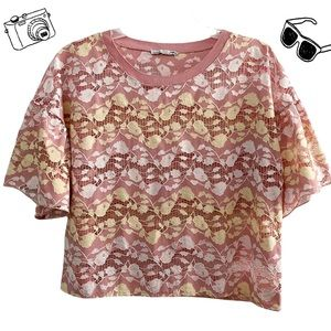Zara urban floral netted contrast top, pink yellow white